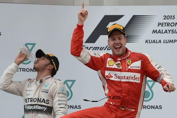 Vettel Malaysian Grand Prix celebration