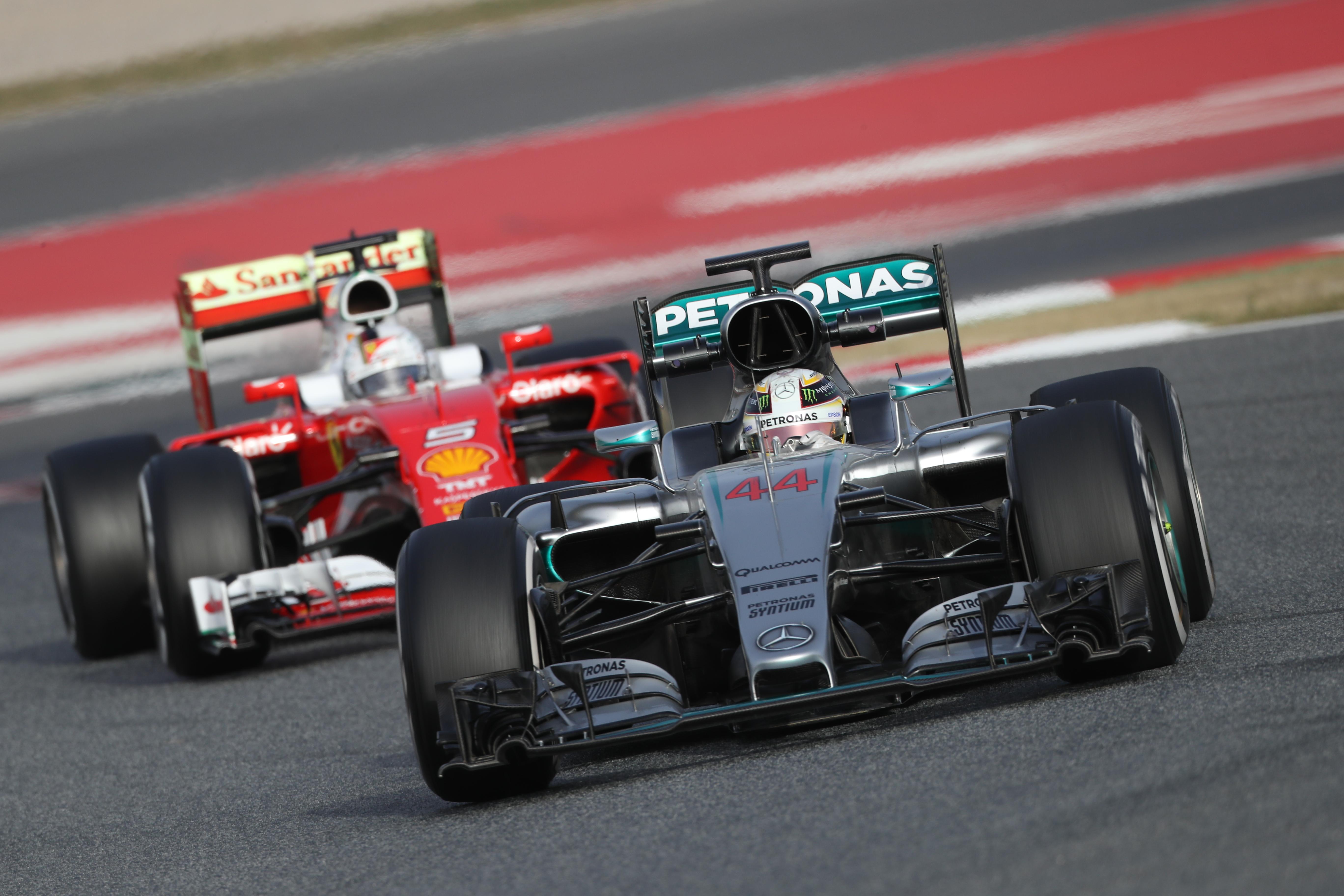 Hamilton & Vettel 2016 F1 cars