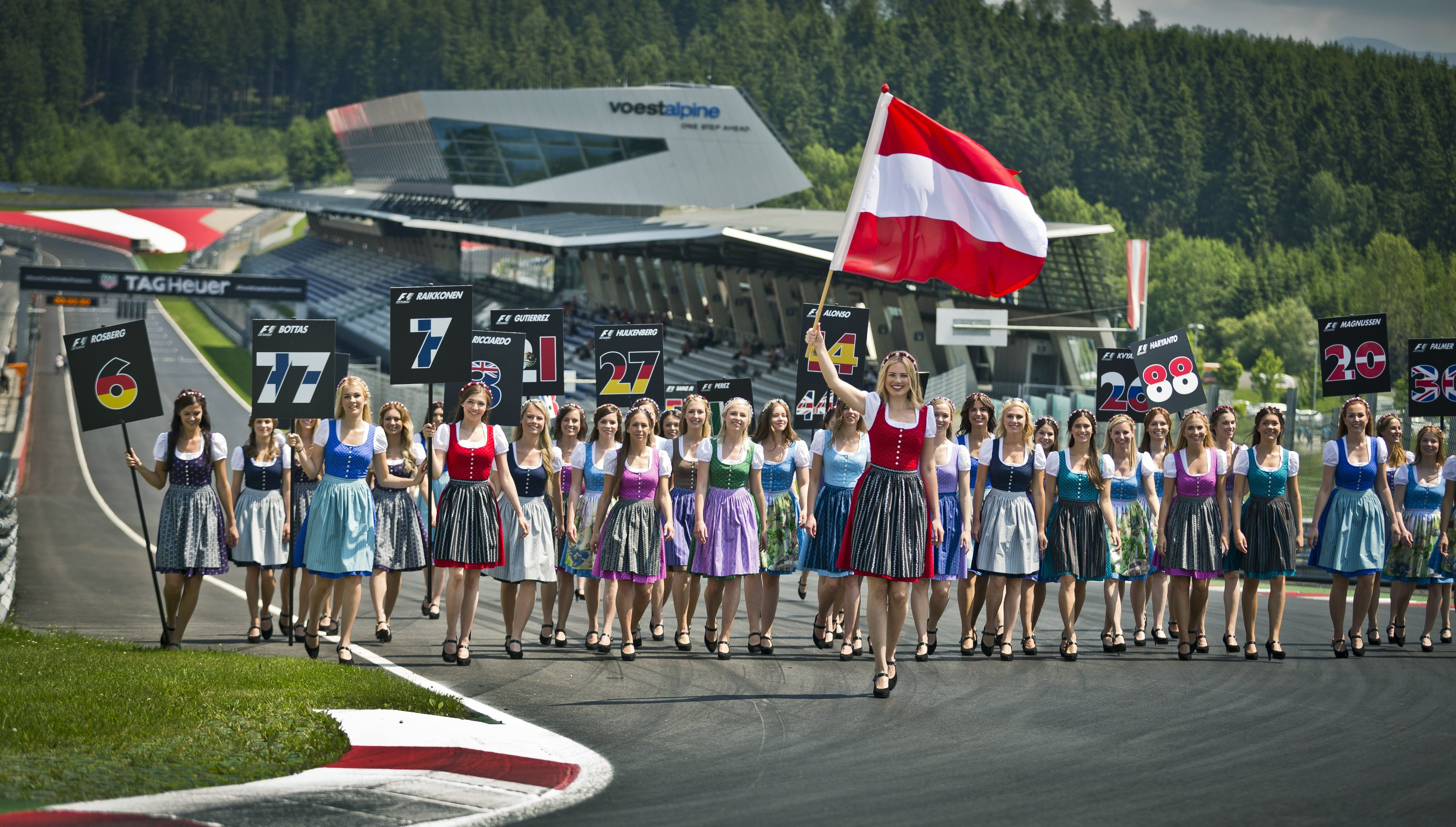 "Red Bull's ""Formula Unas"" at their team building day the the Red Bull Ring in Austria ahead of the Austrian Grand Prix"