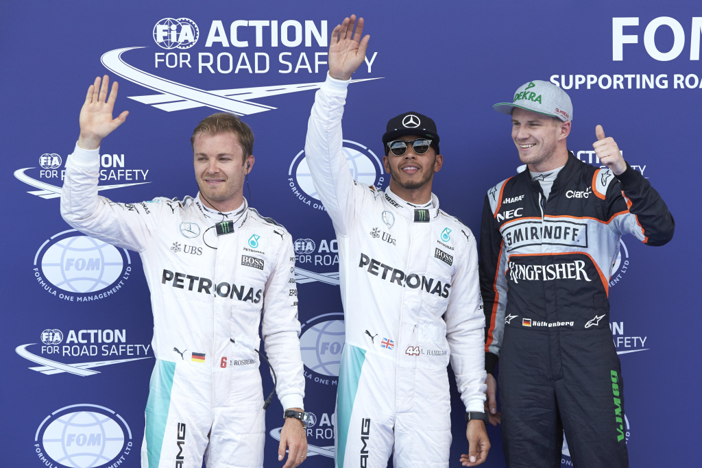 Nico Rosberg, Lewis Hamilton & Nico Hulkenberh after the Austrian Grand Prix 2016 Qualifying session