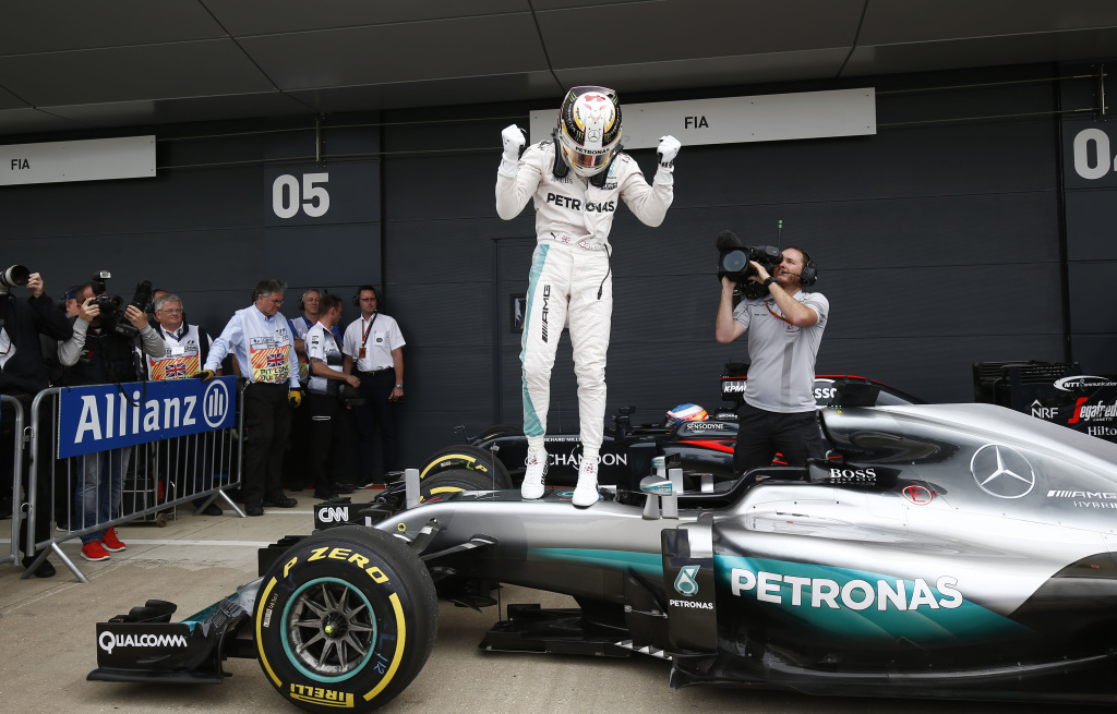 Lewis Hamilton after taking pole in the 2016 British Grand Prix