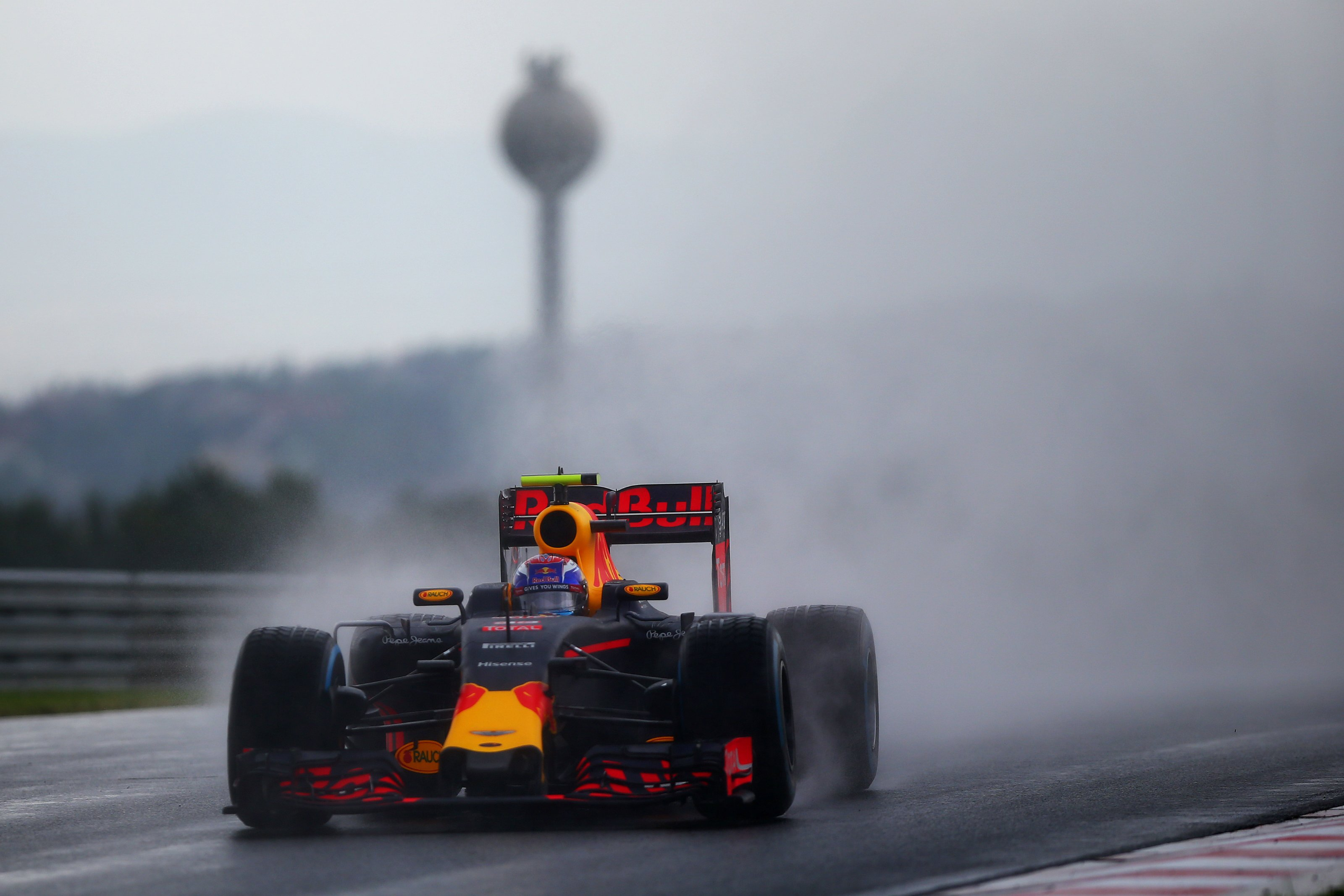 Max Verstappen at a rain soaked Hungarian Grand PRix Qualifying session