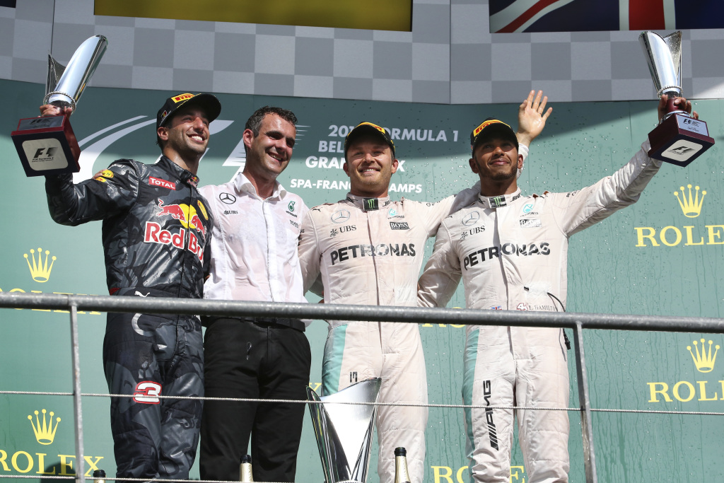 The 2016 Belgian Grand Prix podium celebration