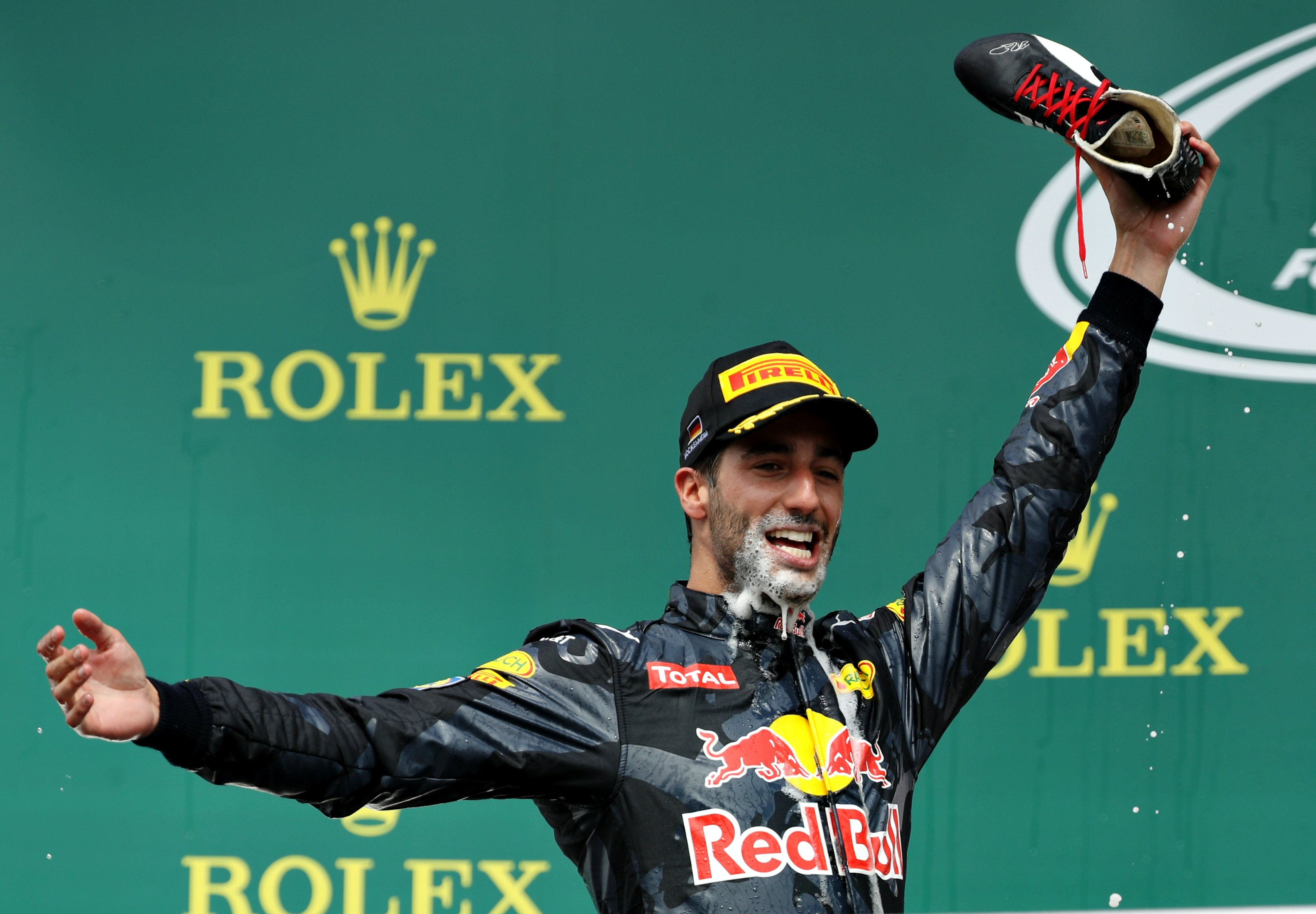 Danny Ricciardo of Red Bull on the podium at the 2016 German Grand Prix