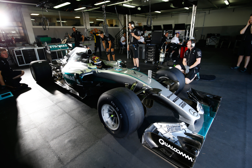 Merceds F1 W06 with 2017 tyres in the garage