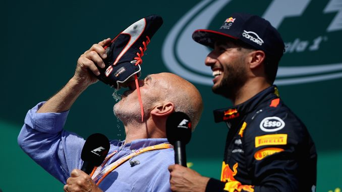 MONTREAL, QC - JUNE 11: Actor Sir Patrick Stewart celebrates on the podium with Daniel Ricciardo of Australia and Red Bull Racing and a shoey during the Canadian Formula One Grand Prix at Circuit Gilles Villeneuve on June 11, 2017 in Montreal, Canada. (Photo by Clive Mason/Getty Images)