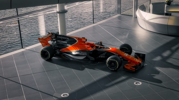 The MCL32 from 2017 in the McLaren Technology Centre