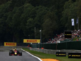 Max Verstappen of the Netherlands driving the (33) Aston Martin Red Bull Racing RB14 TAG Heuer on track during practice for the Formula One Grand Prix of Belgium at Circuit de Spa-Francorchamps on August 24, 2018 in Spa, Belgium. (Photo by Charles Coates/Getty Images)