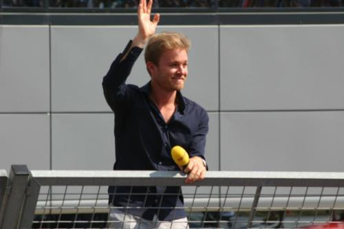 Nico Rosberg on the podium - Pic by Pete Bull